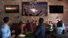 Fans cheer at a bar as they watch a basketball game.