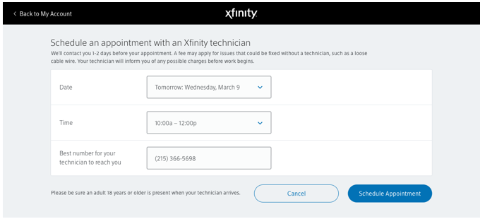 Xfinity Tips Customer Service Appointment Scheduling Now Available Using The My Account App